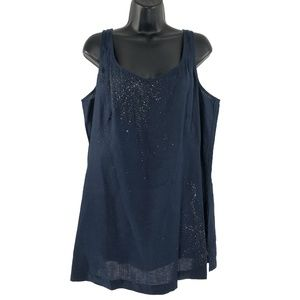 Eileen Fisher Tank Top V-Neck Evening Sequins 1X